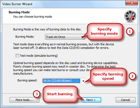 Choose Burning Mode/Speed & Burn