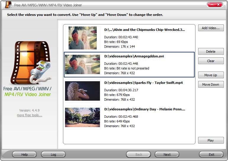 free avi mpeg wmv mp4 flv video joiner full